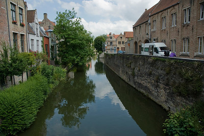An old street along Dijver canal in Bruges, Belgium