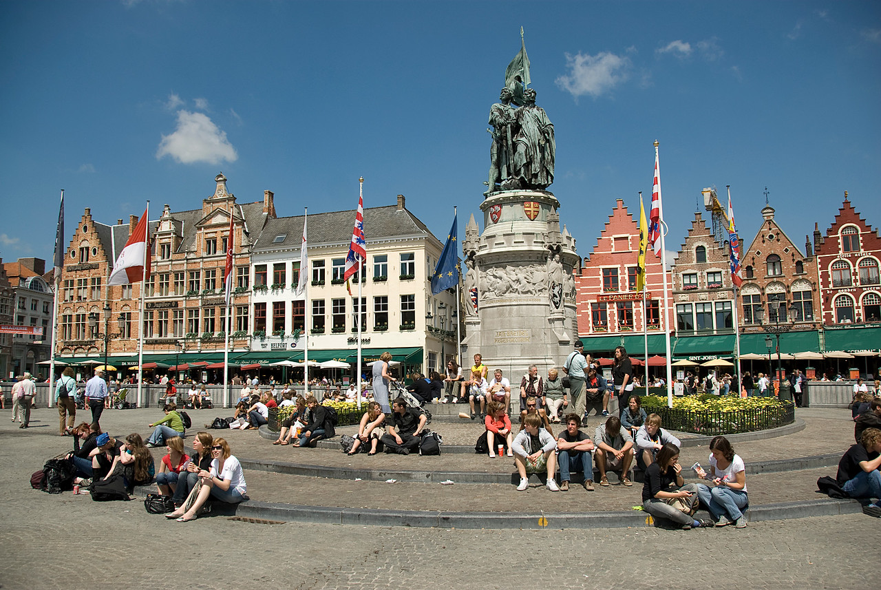 Tourists at the Market Square in Bruges, Belgium