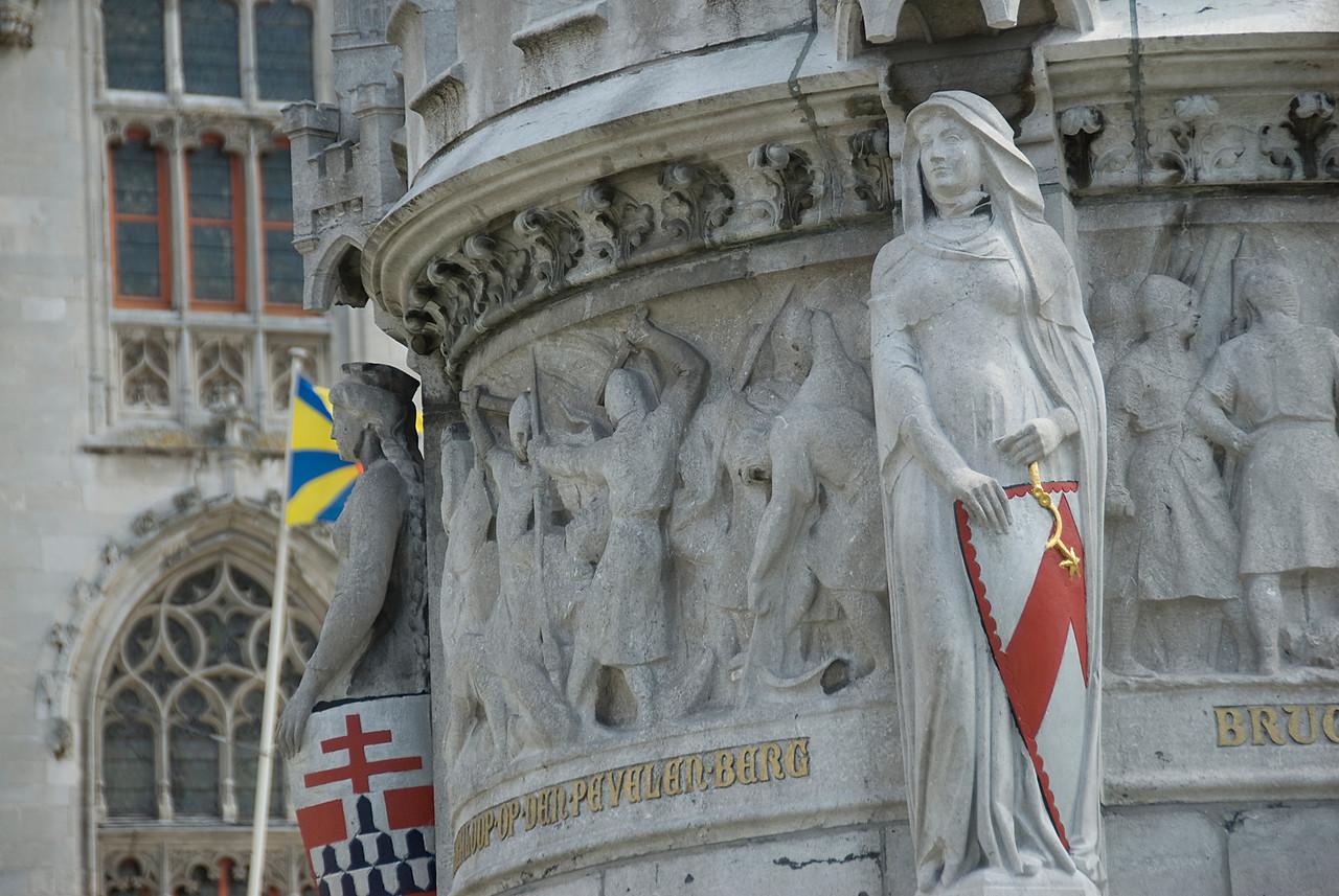 Sculptures in the Market Square of Bruges, Belgium