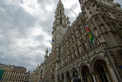 Side profile of the Brussels Town Hall on a cloudy day - Brussels, Belgium