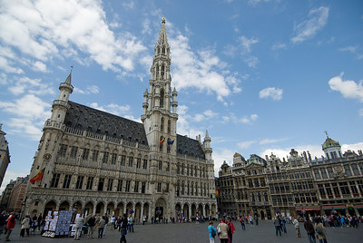 Wide shot of the Brussels Town Hall in Belgium