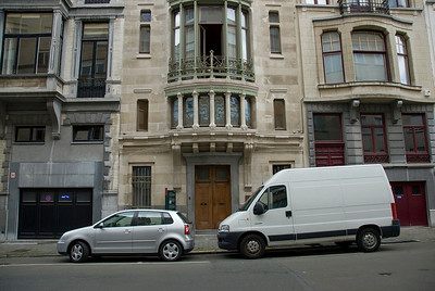 Vehicle parking in front of buildings in Brussels, Belgium