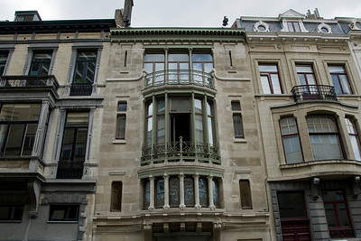 Balcony with windows in a hotel in Brussels, Belgium