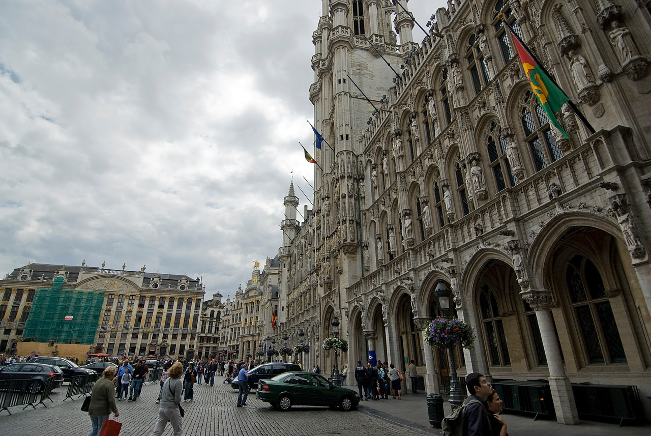 Busy street outside the Brussels Town Hall in Belgium