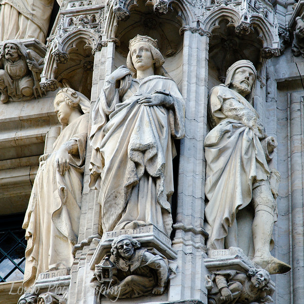 Detail on the Town Hall building, Bruxelles, Belgium