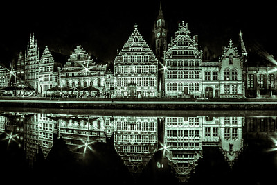 Stunning medieval port Graslei shot from Sint-Michielsplein Bridge by night.