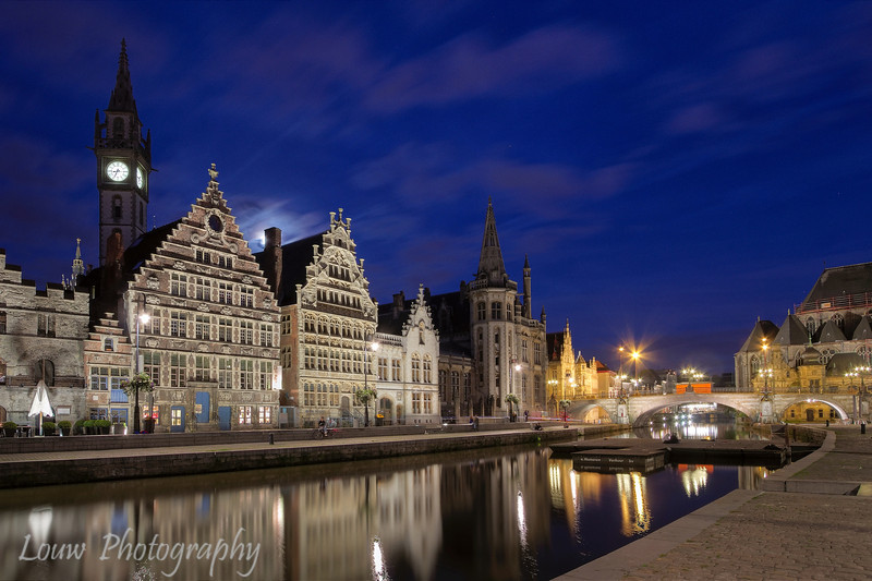 Graslei and canal at night (HDR), Gent, Belgium