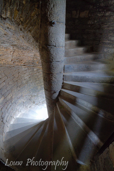Spiral staircase inside The Gravensteen (Castle of the counts), Gent, Belgium