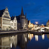 Graslei and canal at night, Gent, Belgium