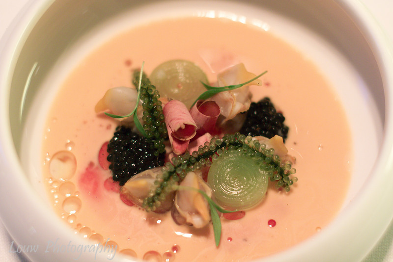 Clams with herring roe, watermelon, bonito and dashi, Hertog Jan, Brugge, Belgium