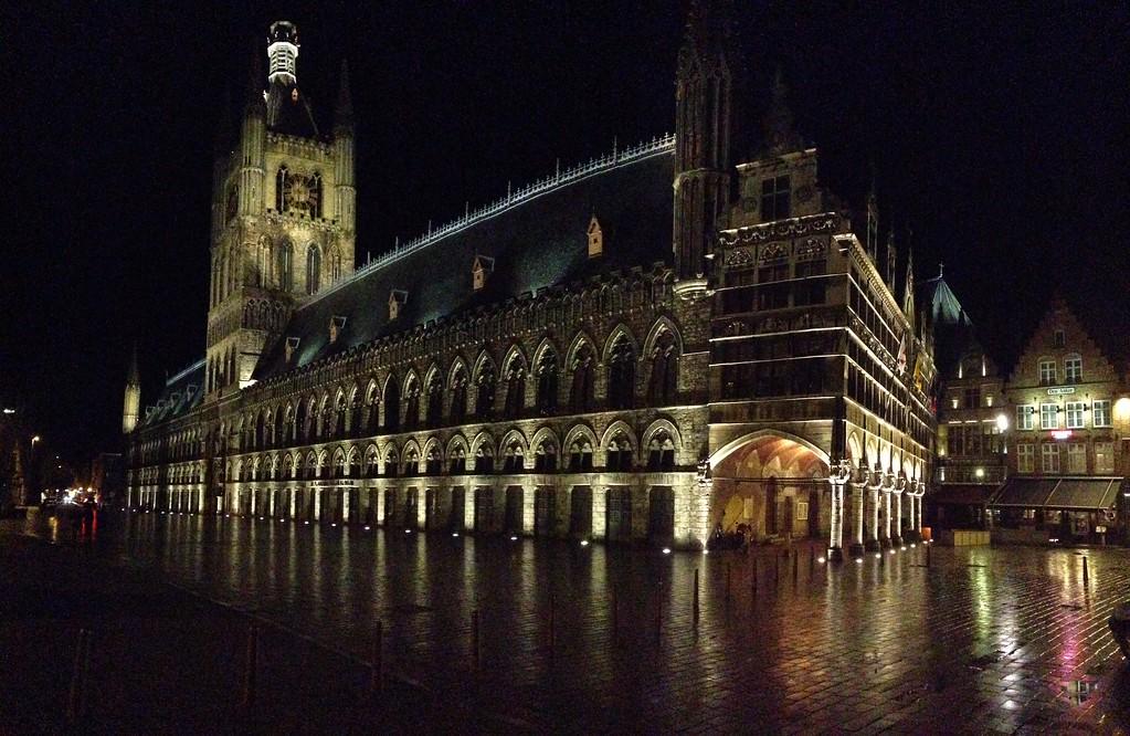 Cloth Hall at Night - Ieper, Belgium - Photo