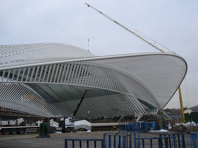 Liege Guillemins Train Station roof under construction (Nov 2007), Liege - Belgium.