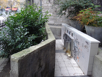 Public urinal next to the cathedral, Liege - Belgium.