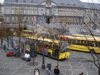 Bus stop and Galeries St Lambert, Liege - Belgium.
