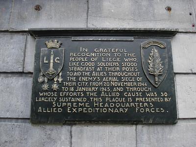 Memorial plaque for the siege of Liege (20 November 1944 to 18 January 1945), Liege - Belgium.