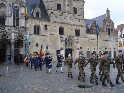 Military parade on November 11 2007 (Armistice Day), at the City Hall, Mechelen - Belgium.