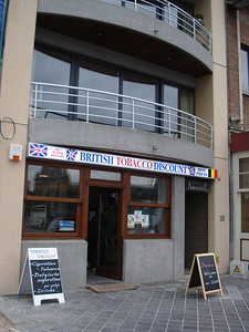 British Tobacco Discount Store, Ostend (Oostende) - Belgium. Ostend is popular for day trippers from Britian buying cheaper cigarettes.