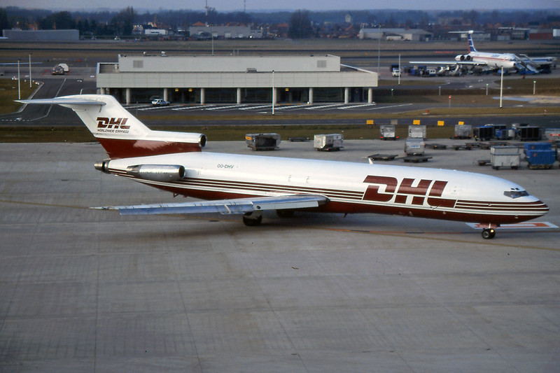 """OO-DHV Boeing 727-223F """"European Air Transport"""" c/n 21084 Brussels/EBBR/BRU 03-03-96 (35mm slide)"""