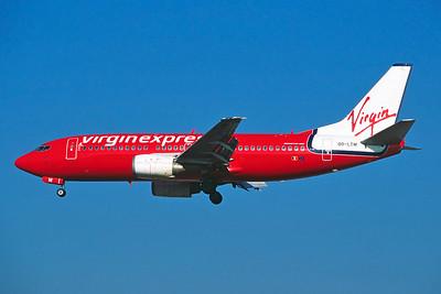 """OO-LTM Boeing 737-3M8 """"Virgin Express"""" c/n 25070 Brussels/EBBR/BRU 23-02-03 (35mm slide)"""