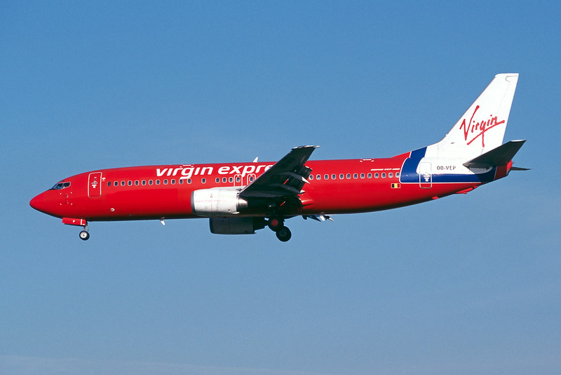 "OO-VEP Boeing 737-43Q ""Virgin Express"" c/n 28489 Brussels/EBBR/BRU 23-04-04 (35mm slide)"