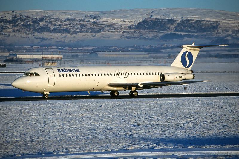 "G-AVMY BAC 1-11-510ED ""European Air Charter"" Glasgow/EGPF/GLA 26-12-95 ""SAB c/s"""