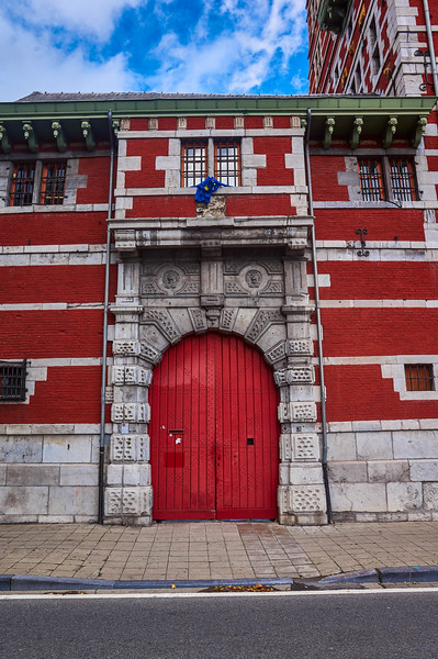 Red door in Liège, Belgium