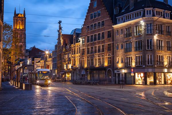 Ghent street in the evening. Ghent, Belgium
