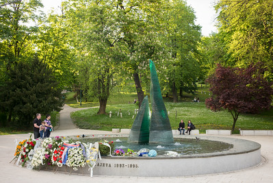 young family visiting Siege of Sarajevo Memorial