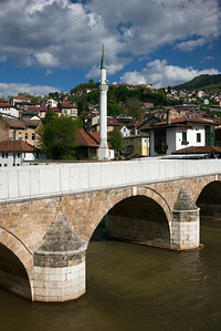 bridge & minaret by River Miljacka