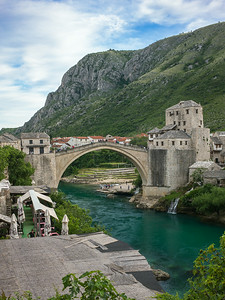 Stari Most restored 16th-century bridge at Mostar destroyed by Croatian militia