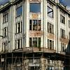 bombed out building shell near Sarajevo market