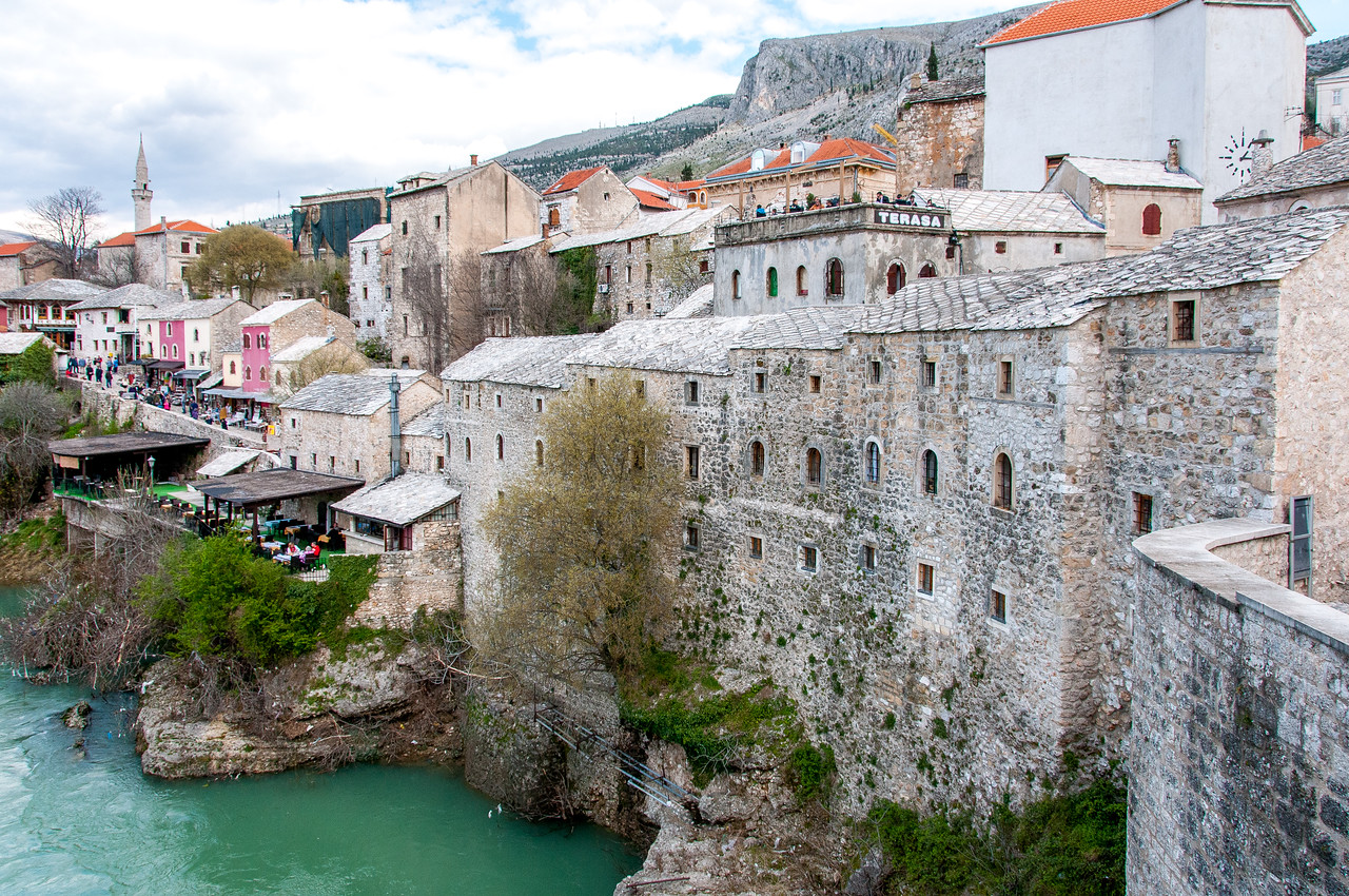 Stone structures and village near the Neretva river in Mostar, Bosnia and Herzegovina