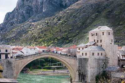 The stone arch bridge across the Neretva River at Mostar, Bosnia and Herzegovina