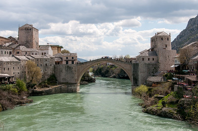 Neretva River underneath the stone arch bridge - Mostar, Bosnia and Herzegovina