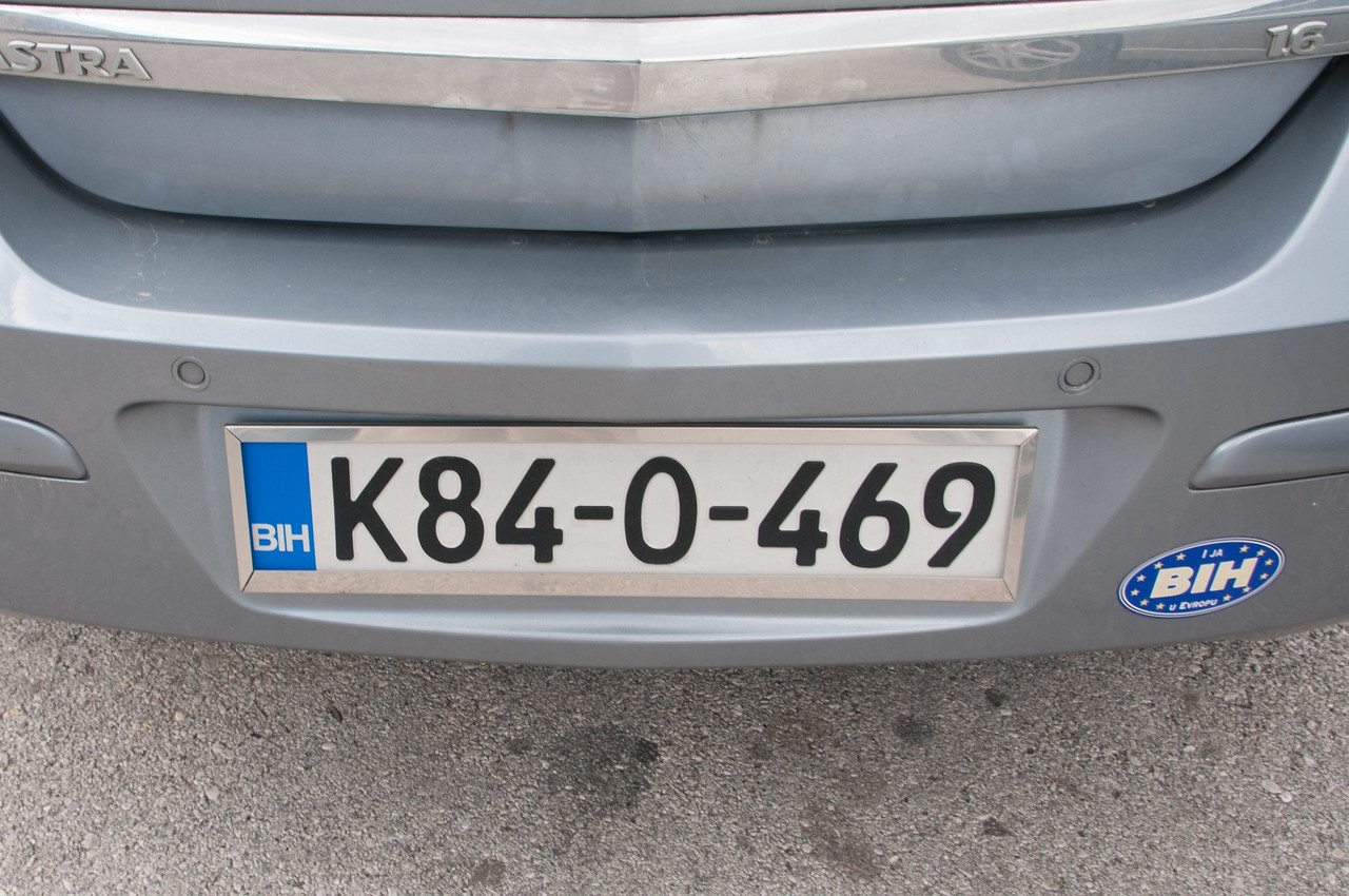 Rental car license plate - Mostar, Bosnia and Herzegovina
