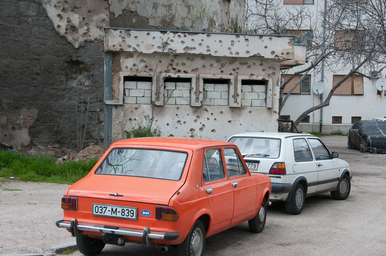 Vintage cars on the road - Mostar, Bosnia and Herzegovina