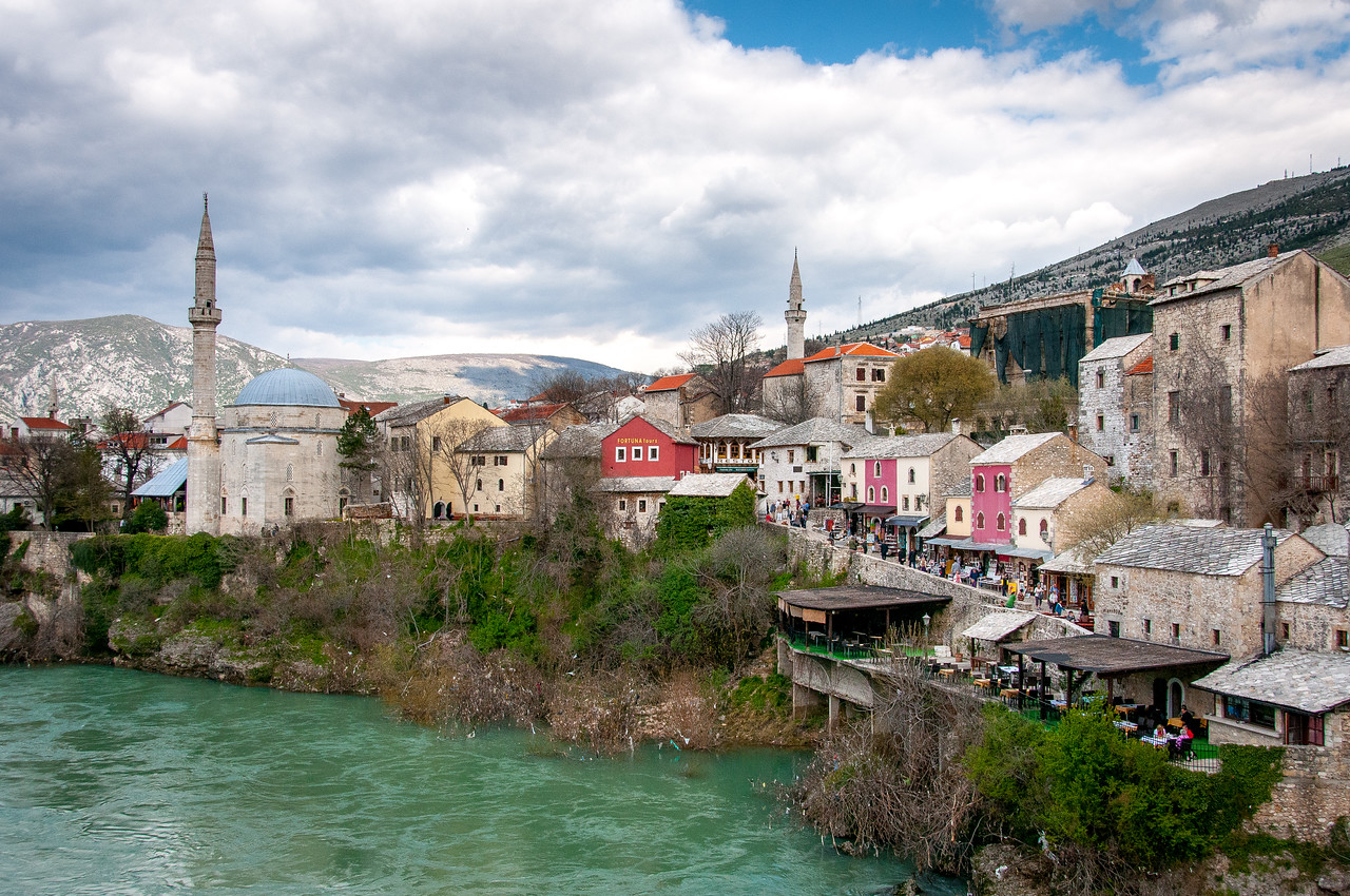 Village near the Neretva river in Mostar, Bosnia and Herzegovina