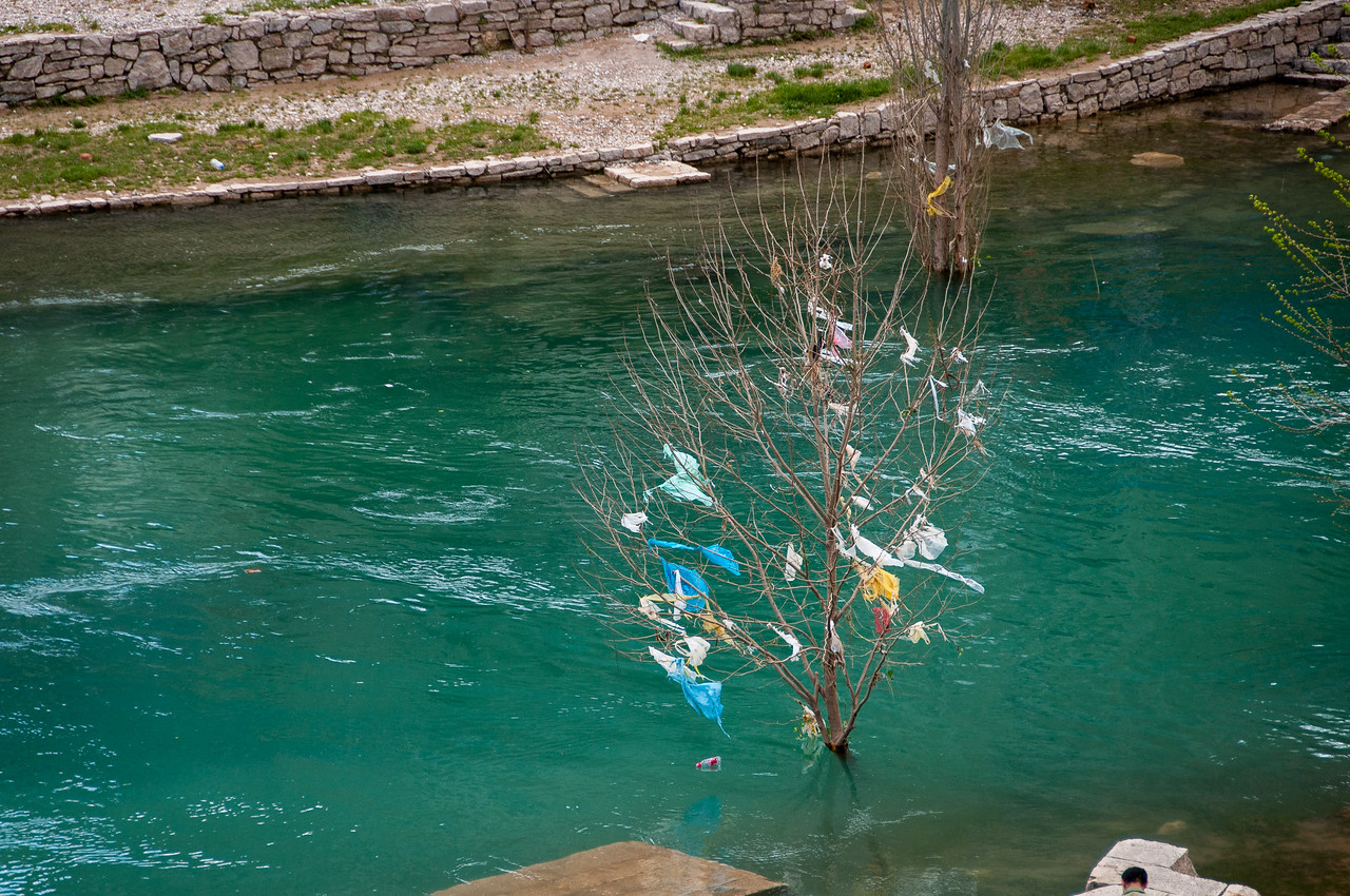Litter gathered on a branch at the Neretva river - Mostar, Bosnia and Herzegovina