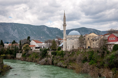 Hadzi Alija Mosque Tower Overlooking the Neretva River in the Town of Pocitelj Near Mostar, Bosnia and Herzegovina