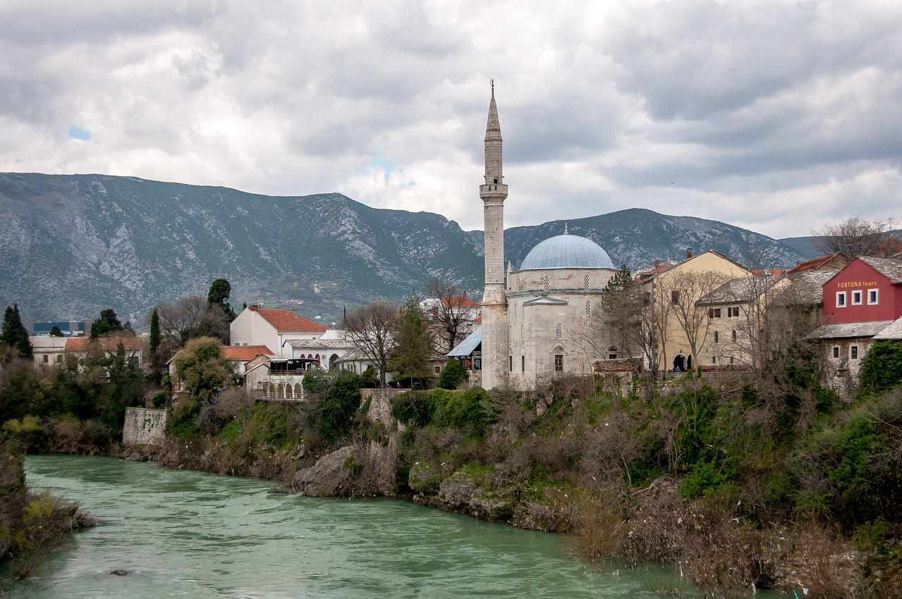 Hadzi Alija Mosque Tower Overlooking the Neretva River in the Town of Pocitelj Near Mostar, Bosnia and Herzegovina