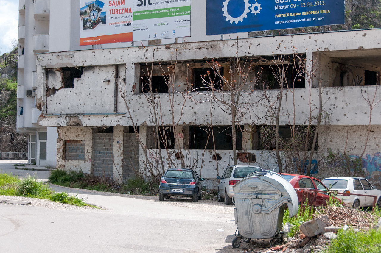 Abandoned and dilapidated structure spotted in Mostar, Bosnia and Herzegovina