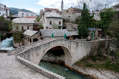 Closer view of the stone arch bridge in Mostar, Bosnia and Herzegovina