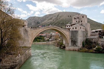 View of the stone arch bridge along the banks of Neretva River - Mostar, Bosnia and Herzegovina