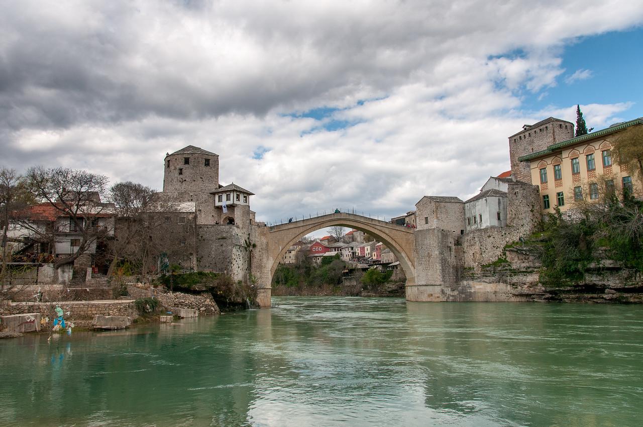 The stone arch bridge across the Neretva River at Mostar, Bosnia and Herzegovina