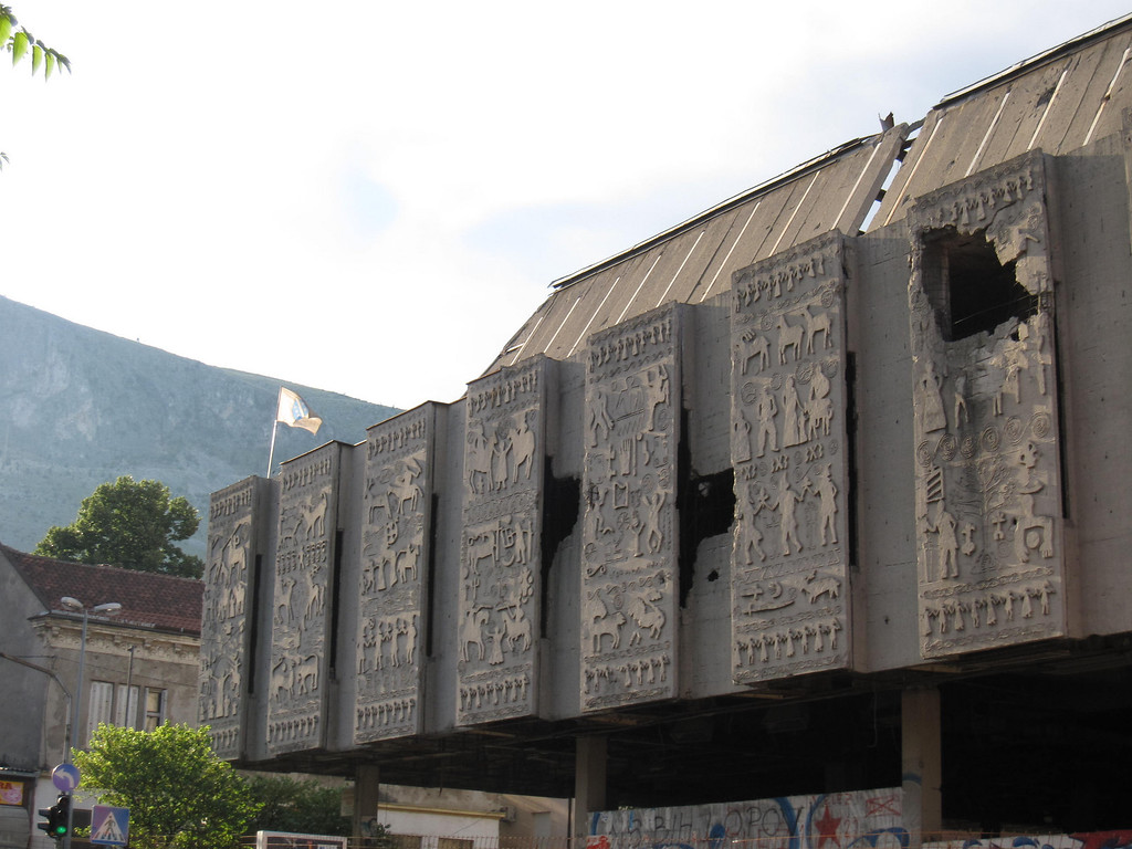 Bombing damage in Mostar, Bosnia and Herzegovina
