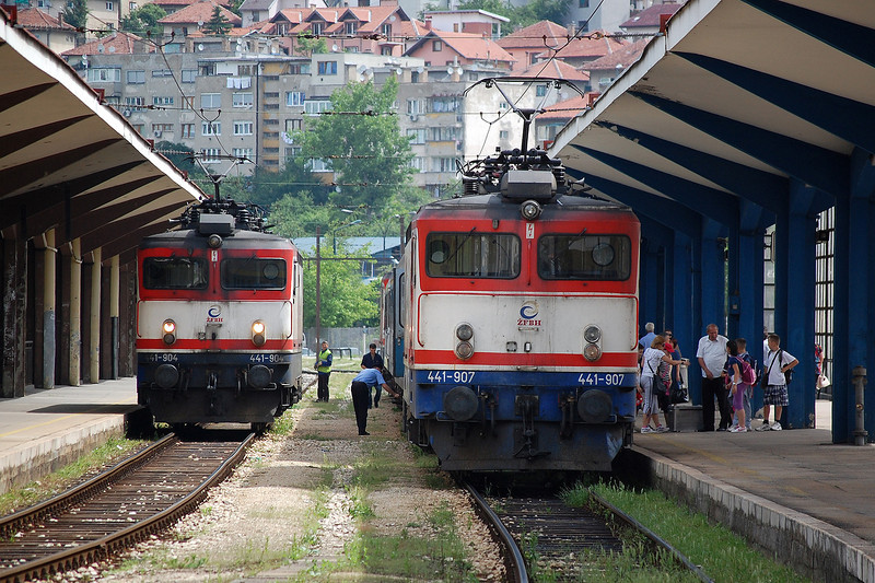 ZFBH 25kV ac electric locomotive 441-907 at Sarajevo on 9th June 2012 with the daily Ploce to Zagreb train.