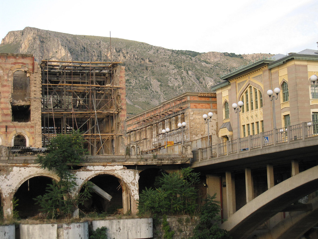 war damage in mostar, bosnia and herzegovina