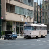 A Tatra tram waits for traffic on Maršala Tita, Sarajavo on the 8th June 2014.