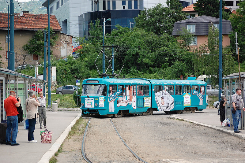 One of many Tatra trams outside Sarajavos main railway station on the 8th June 2012.