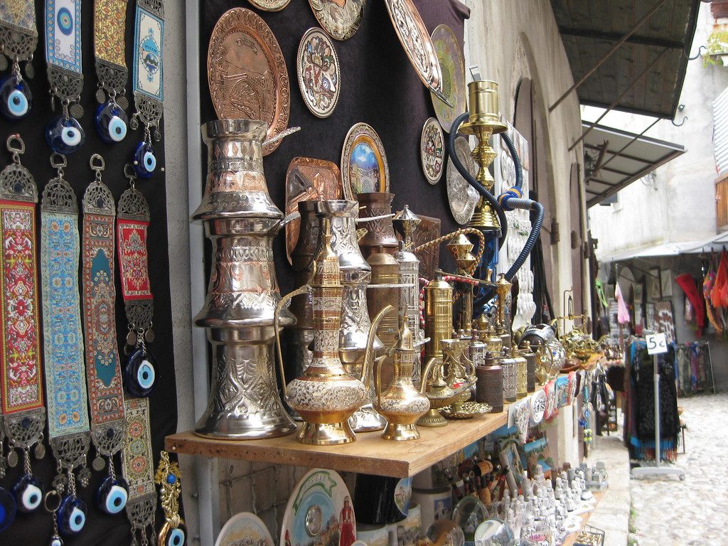 Colorful coffee sets for the tourists in Mostar's Old Town